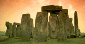 Image of Stonehenge with red sky background